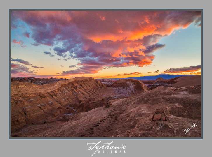 Phenomenal sunset from Valle de la Luna, Atacama Desert